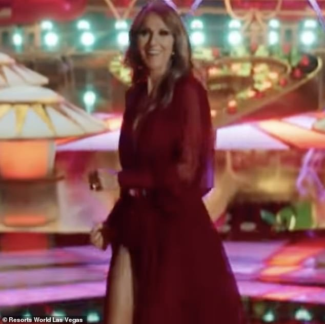 Sensation: But the piece de resistance of the commercial came when Las Vegas icon Celine Dion herself appeared on the screen