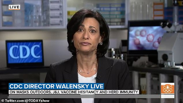 'I don't want to get ahead of the advisory committee tomorrow's meeting,' said CDC director Dr Rochelle Walensky on the Today show Thursday (pictured)