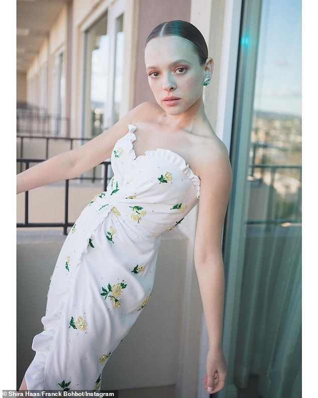 Glamour girl:Shira Haas, who ended up beating out Elle fanning in the acting category, also put on a glamorous display by means of Instagram on Thursday night