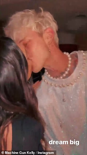 And MGK shared images to his Instagram Story showing him kissing his beautiful girlfriend as he enjoyed his celebration with friend.