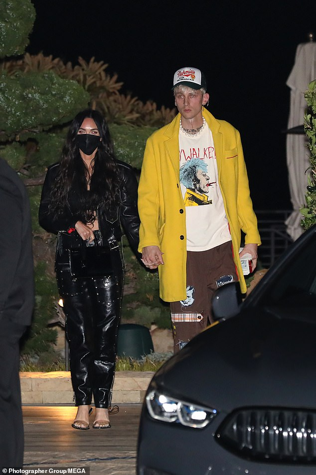 Stylish pair:The Confessions Of A Teenage Drama Queen star, 34, looked sensational in a pair of studded trousers as she stepped out of the celebrity hot spot with the birthday boy