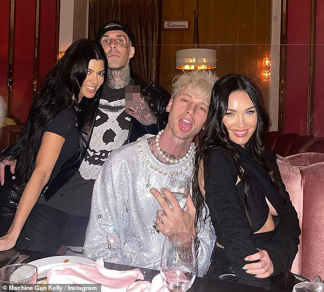 Pals: Guests at the party included MGK's Tickets To My Downfall collaborator Travis Barker and his reality star girlfriend Kourtney Kardashian