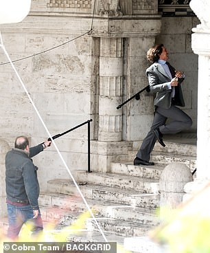 Adam Driver playing Gucci on set in Rome earlier this month. Debt-ridden pizzeria owner Benedetto Ceraulo was hired by Reggiani for £240,000 to shoot her ex-husband as he entered his Milan offices in 1995