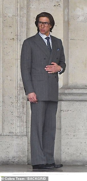 Adam Driver filming on location in Italy for the new movie House of Gucci