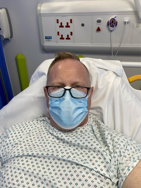 Jonathan Frostick in hospital after a heart attack