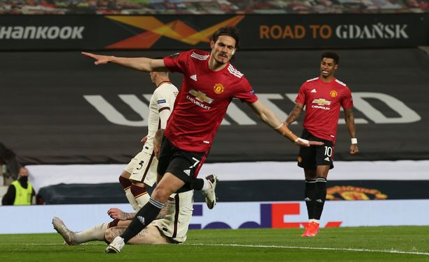 Edinson Cavani celebrates scoring Man United's second goal during the Europa League semi-final first leg tie with Roma