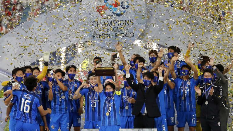 Ulsan's players celebrate winning the AFC Champions League final