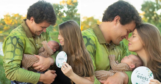 It has been two weeks since Bindi Irwin and Chandler Powell welcomed their daughter Grace Warrior (Picture: Chandler Powell/Instagram)