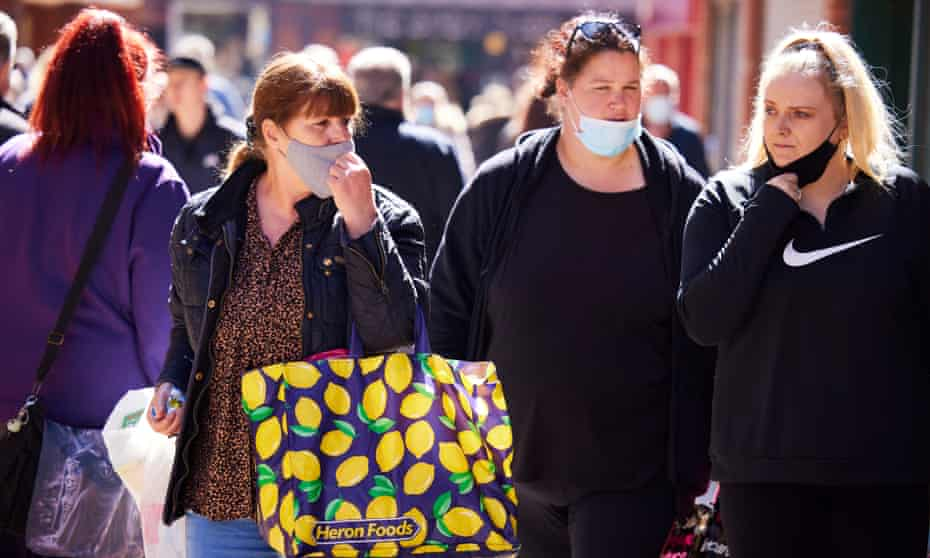 Shoppers take to the high street in Blackpool as lockdown restrictions in England begin to ease.