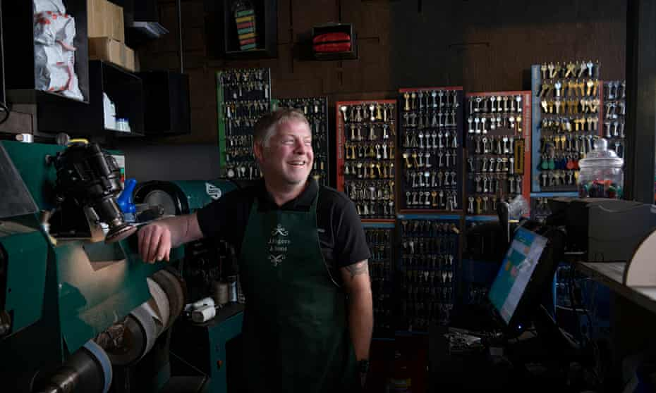 Danny Rogers inside his shop in the City of London