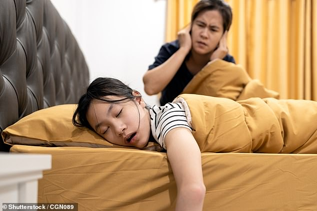 The brains of children who snore are shaped differently to the minds of their peers and may be behind several behavioural issues, a study has found (stock)