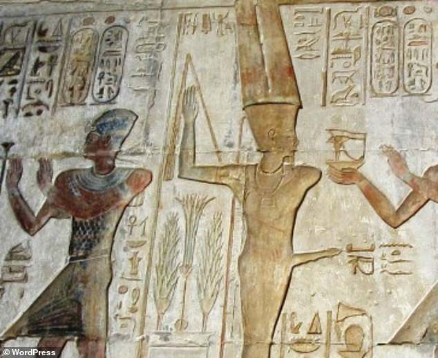 Researchers found modern varieties of lettuce mostly resemble their weed-like predecessors grown only for their seed oil some 6,000 years ago.Many of the Egyptian murals with lettuce include Min (pictured), the god of fertility, which was said to consume the plant for sexual stamina
