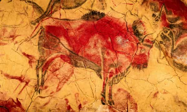 A bison is depicted in a painting in the Altamira cave, in the historic town of Santillana del Mar, Cantabria.
