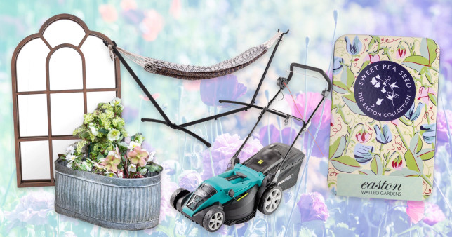 (l-r) Arched mirror, Hammock, Vence Trough, Electric lawn scarifier and aerater, Sweet spea seeds