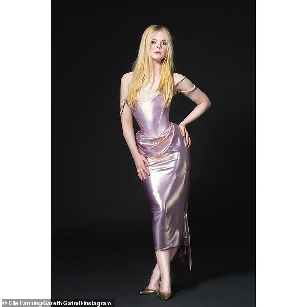 Wow! Elle Fanning made jaws drop in a custom Vivienne Westwood gown inspired 'by Catherine the Great¿s love of pearls!' as she made a virtual appearance during the 36th Annual Film Independent Spirit Awards on Thursday