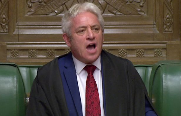 Speaker John Bercow announces the result of the vote on the deal delay at the House of Commons as parliament discusses Brexit
