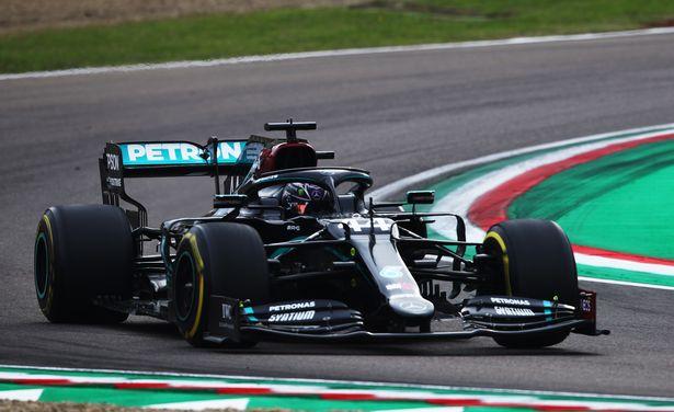 Lewis Hamilton of Great Britain driving the (44) Mercedes AMG Petronas F1 Team Mercedes W11 on track during the F1 Grand Prix of Emilia Romagna at Autodromo Enzo e Dino Ferrari on November 01, 2020 in Imola, Italy.