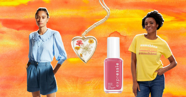 (l-r) Albaray, Oliver Bonas necklace, Expressie nail polish, Sunshine Sugarhill Brighton T-Shirt on watercolour orange background