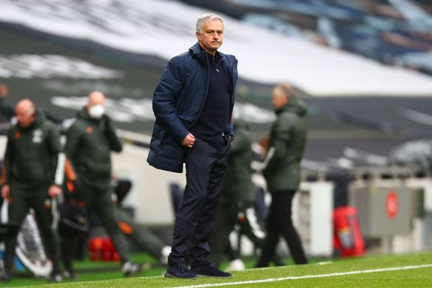 Jose Mourinho during Tottenham's defeat to Manchester United on Sunday