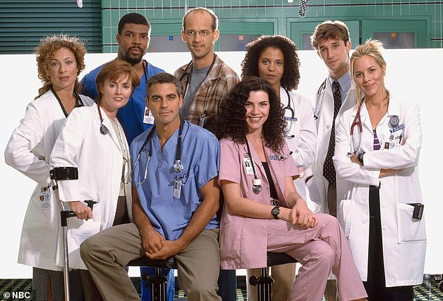 Streams on Earth Day! Two-time Oscar winner George Clooney (4-L, pictured in 1996) will reunite with his ER castmates for Stars in the House's Waterkeeper Alliance benefit