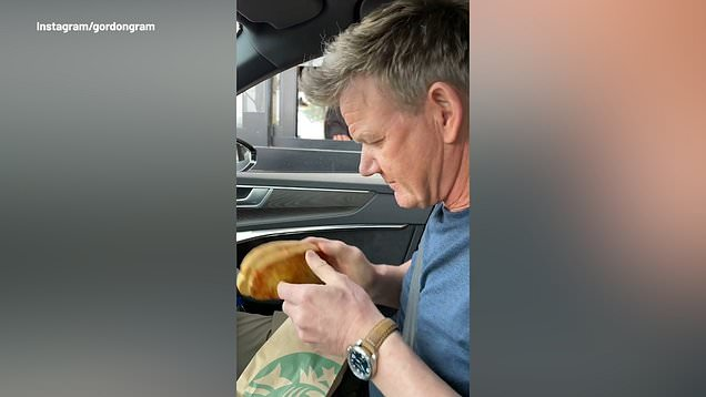 Gordon Ramsay ordering a cheese toastie at Starbucks