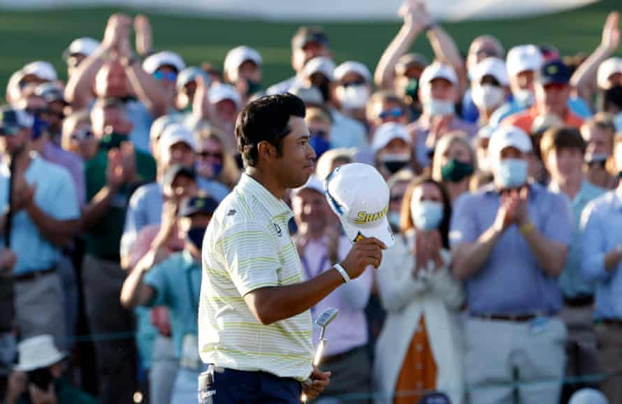 Hideki Matsuyama enjoys the acclaim on the crowd after winning the Masters.