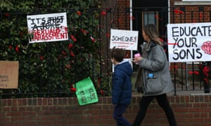 A school with placards and signs.