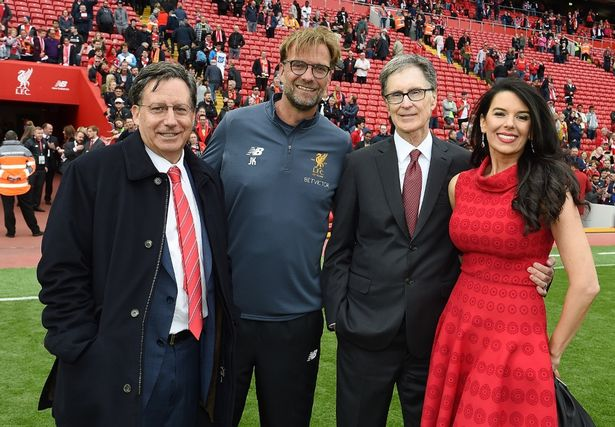 Liverpool chairman Tom Werner poses with manager Jurgen Klopp and owner John W Henry Principal owner with wife Linda Pizzuti. (Photo by John Powell/Liverpool FC via Getty Images)