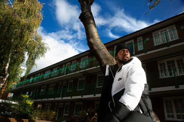 Leonard Sekyonda at the council estate he grew up in