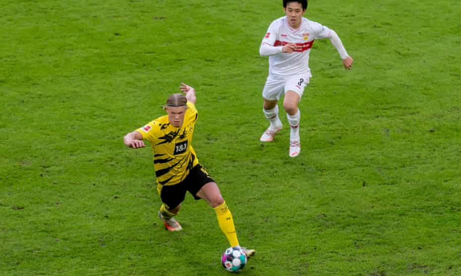 Erling Haaland, seen here against Stuttgart on Saturday, will be a key player for Dortmund against Man City.