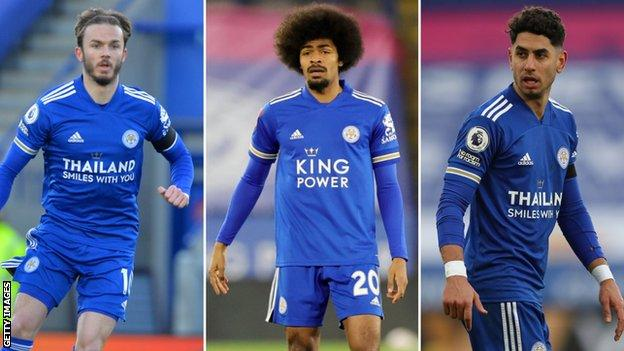 A split image of Leicester players James Maddison (left), Hamza Choudhury (centre) and Ayoze Perez (right)