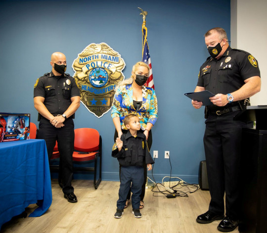 Jeremiah Valera taking the oath at the North Miami Police Department