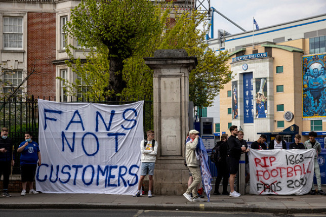 Protests were staged at Stamford Bridge by supporters on Tuesday