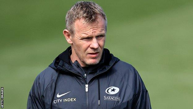 Saracens director of rugby Mark McCall on the sidelines