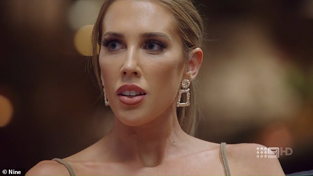 Oops!On Sunday's finale episode of Married At First Sight , Rebecca Zemek (pictured) was busted kissing an old flame on camera, leaving groom Jake Edwards vomiting