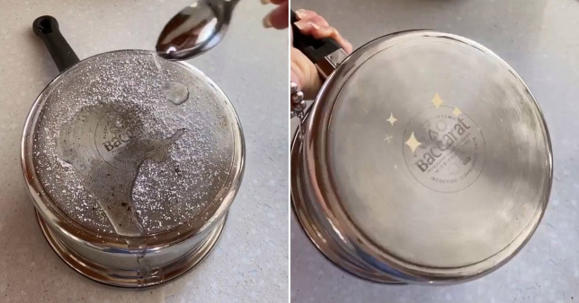 trick for cleaning stains off saucepans