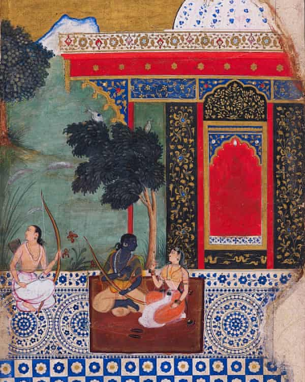 A watercolour depicting three figures together in an ornate building, sitting on rugs on a mosaic floor