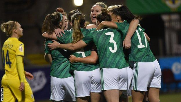 NI players celebrate Marissa Callaghan's opening goal at Seaview