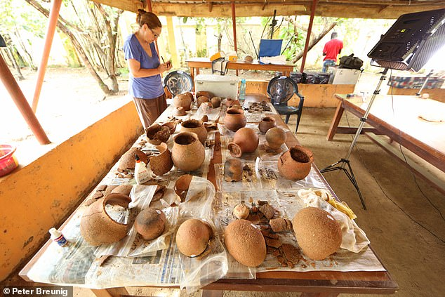 Pictured, excavated Nok vessels are cleaned and photographed at the Janjala research station by Dr Gabriele Franke of Goethe University