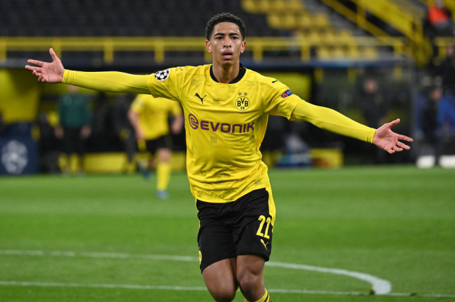 Dortmund's English midfielder Jude Bellingham celebrates scoring the opening goal during the UEFA Champions League quarter-final second leg football match between BVB Borussia Dortmund and Manchester City in Dortmund, western Germany, on April 14, 2021.