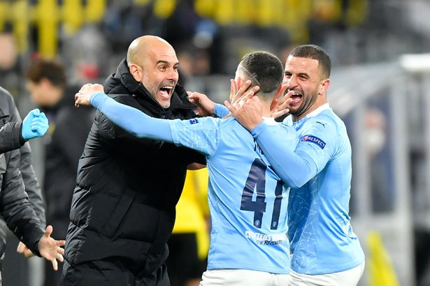 Phil Foden sprinted straight to Pep Guardiola on the touchline after scoring the winner vs Dortmund