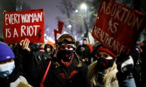 A protest in Warsaw against the Polish constitutional court's ruling restricting abortion rights.