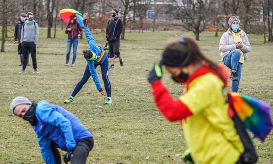 People exercise during an 'equality jog' in Gdansk