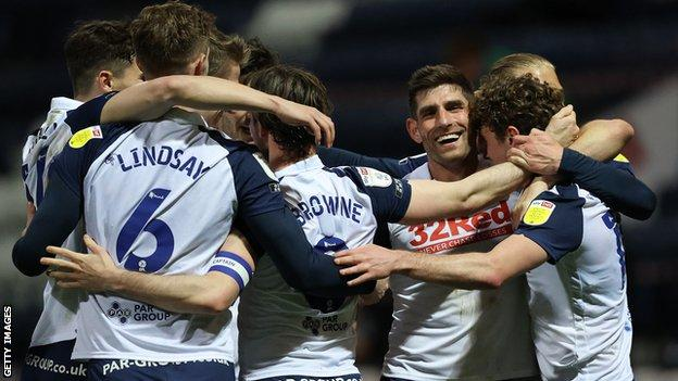 Preston players celebrate a goal against Derby