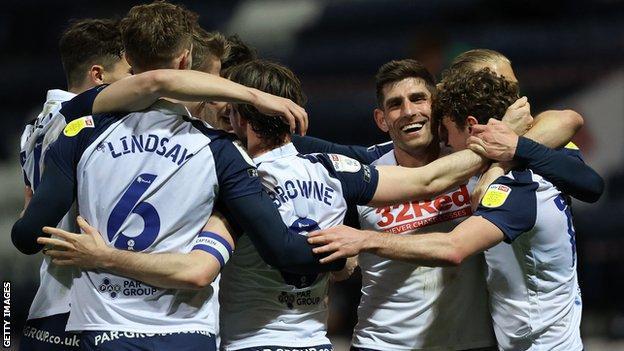 Preston players celebrate a goal against Derby