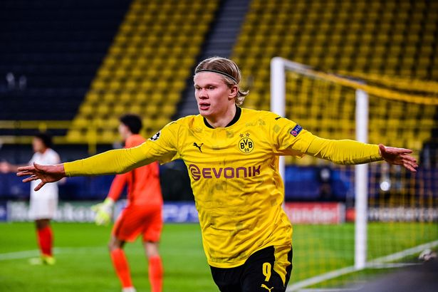 Erling Haaland of Borussia Dortmund celebrate a goal during the UEFA Champions League round of 16 match between Borussia Dortmund and Sevilla FC at Signal Iduna Park in Dortmund, Germany.