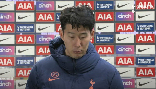 Son Heung-min apologised to Tottenham fans after their loss to Manchester United