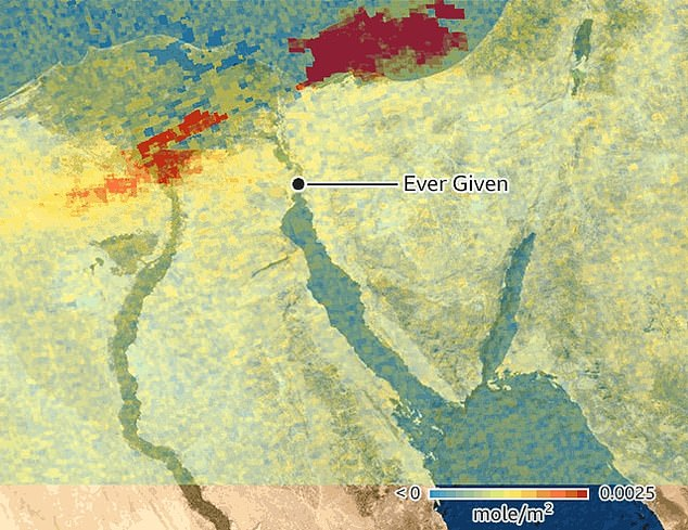 Pictured, the increase in sulphur dioxide emissions between March 23 and March 29 when the Suez canal was blocked by the Ever Given. Red areas are increases in sulphur dioxide levels caused by ships 'hotelling' while waiting for the Ever Given to be cleared
