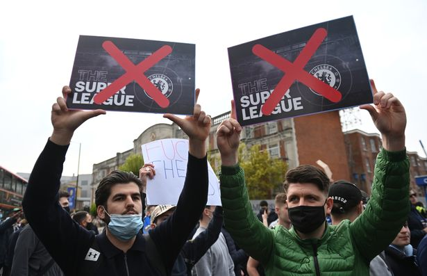 Chelsea fans stage a demonstration against the European Super league before the English Premier League soccer match between Chelsea FC and Brighton & Hove Albion FC in London, Britain, 20 April 2021.
