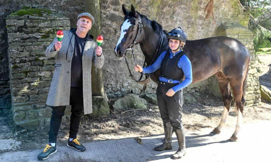 Bez with Mystic Moonshadow and groom Jess Barraclough at Jedd O'Keeffe's stables.